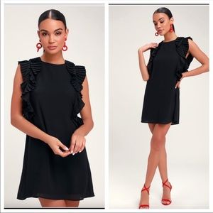 Lulu's We Got The Pleat Black Ruffled Shift Dress.